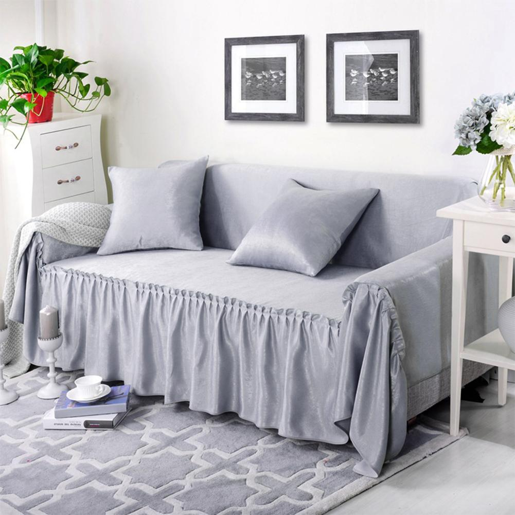 Solid Velvet Linen Sofa Cover Summer Winter Multifunction