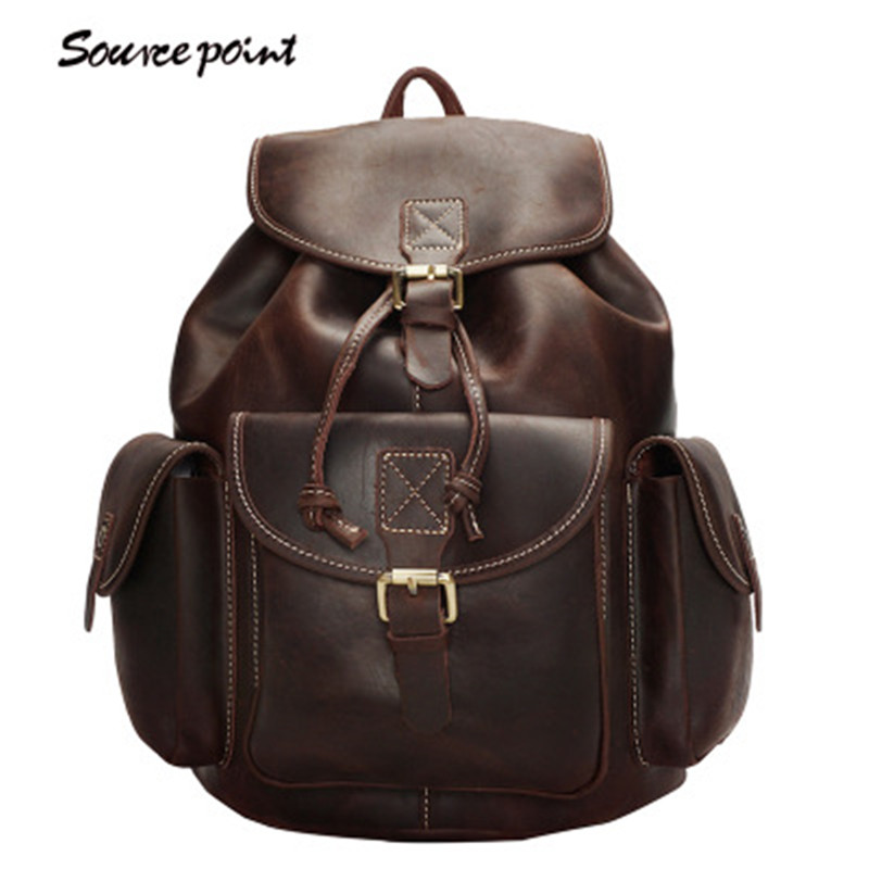 YISHEN Vintage Large Capacity Women's Travel Bag Crazy Horse Leather Women Backpack Fashion Retro School Bags For Girls YD-8088 все цены