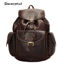 YISHEN Vintage Large Capacity Women's Travel Bag Crazy Horse Leather Women Backpack Fashion Retro School Bags For Girls YD-8088