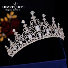 Cubic Zirconia European Hair Crown Stunning CZ Crystal Wedding Brides Headpiece Princess Coronet Jewelry Accessories
