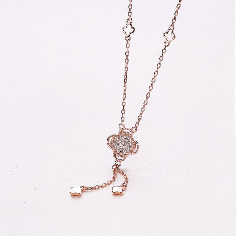 S-S925 en argent sterling incrusté chaîne-argent blanc argent collier Femme argent collier pendentif