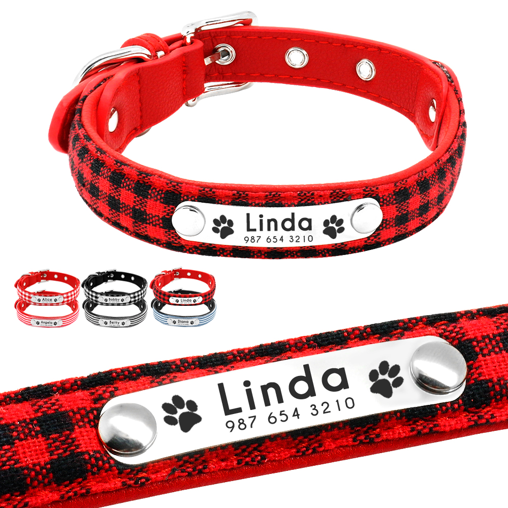 Personalized Puppy Dog Collar Adjustable Customized Cat Collars Plaid Striped Free Engraving For Small Medium Dogs Dropshipping