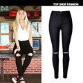 Nuevas mujeres de la manera nuevo estilo jeans Encuadre de cuerpo entero de cintura alta pantalones vaqueros Rasgados Agujero Flaco Lápiz Pantalones de Mezclilla Tramo Mujeres Pantalones Vaqueros de cintura