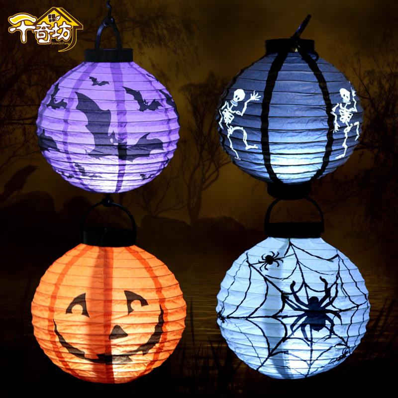 Halloween Decor Hanging Jack-O-Lantern Luminous Paper Ghost Bat Pumpkin Lantern Lights Wall Decorations 4 Color Layout Props