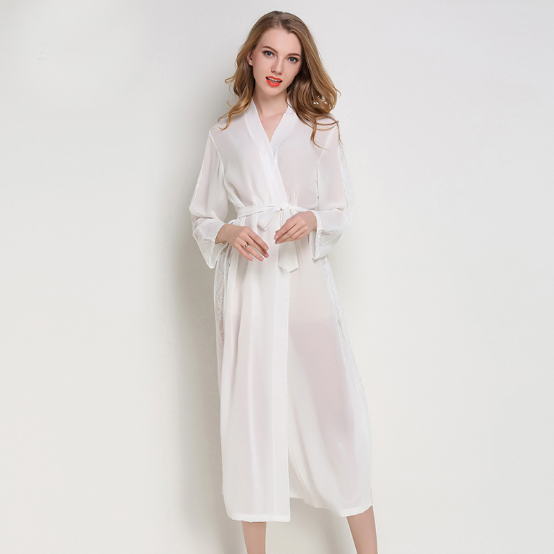 Hot Lady Chiffon Nightgown Bride Wedding Robe Soft Satin Sleepwear Sexy Long Perspective Nightdress Casual Kimono Gown One Size