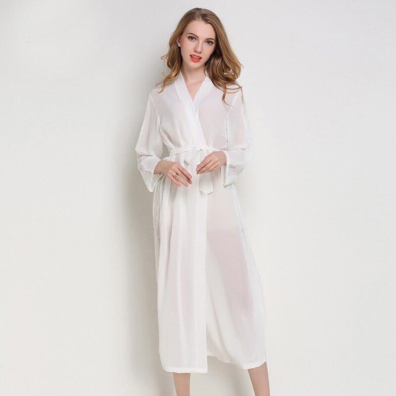 Hot Lady Chiffon Nightgown Bride Wedding Robe Soft Satin Sleepwear Sexy Long Perspective Nightdress Casual Kimono Gown One Size