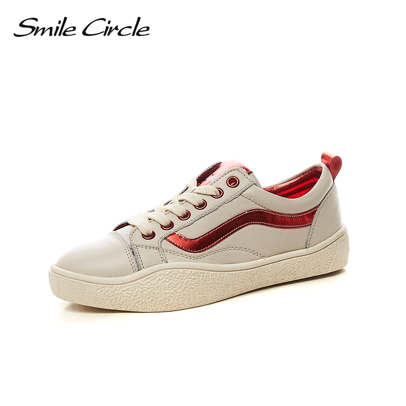 Smile Circle 2018 New Genuine Leather Sneakers Women Lace-up Flats Shoes Women Casual Shoes Round toe Flats platform Shoes C6007 qmn women snake effect leather brogue shoes women round toe platform oxfords shoes woman genuine leather casual platform flats