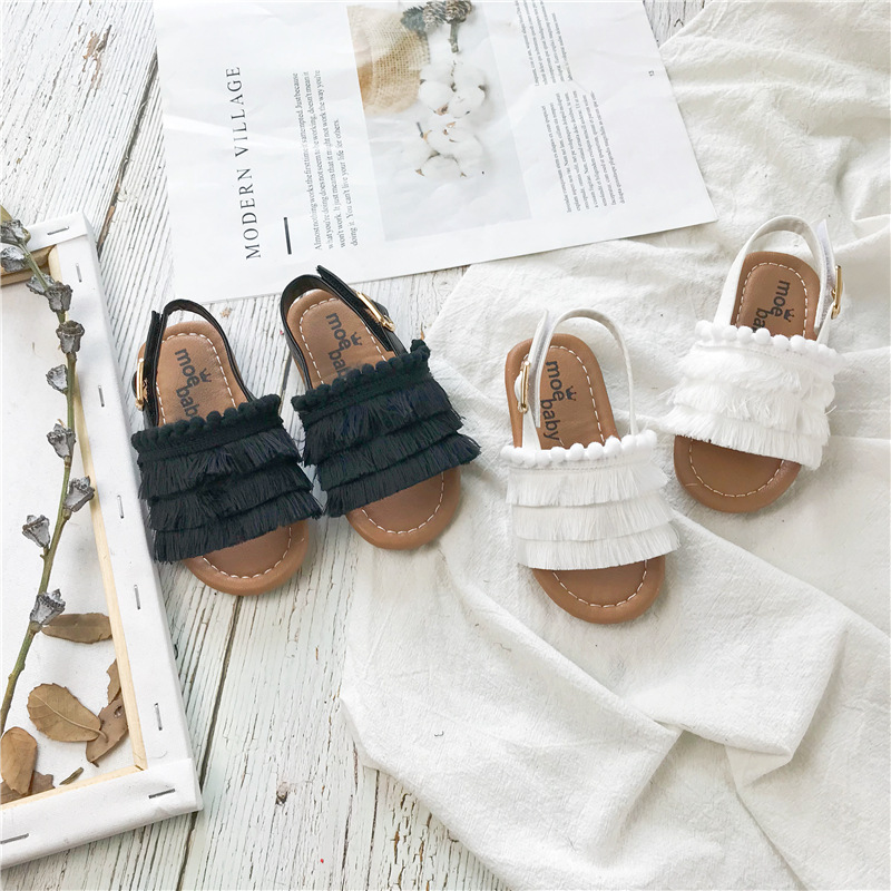 Girls Summer Sandals 2019 New Korean Tassel Baby Kindergarten Leisure Soft Bottom Children's Leisure Sandals Toddler Baby Cloth