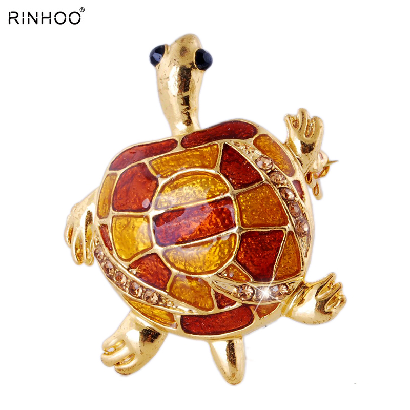 2018 Gold Tortoise Brooch Rhinestone Animal brooches For women Wedding Party brooch pins Jewelry For Special Best Gift