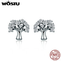 WOSTU High Quality 925 Sterling Silver The Tree Of Life Clear CZ Stud Earrings For Women