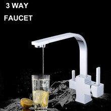 Смеситель для кухни смеситель хром закончил фильтр для воды ro кран вода 3 way water tap черный три цвета