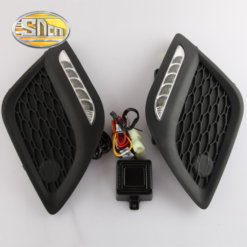 For Volvo XC60 2010 2011 2012 2013,Turn-Off Style Relay Waterproof ABS Car LED DRL 12V LED Daytime Running Light Daylight SNCN hot sale abs chromed front behind fog lamp cover 2pcs set car accessories for volkswagen vw tiguan 2010 2011 2012 2013