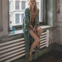 Boho Inspired Floral Print Batwing Sleeve Long Wrap Summer Dress Bohemia Resorted Kimono Beach Dresses Hippie
