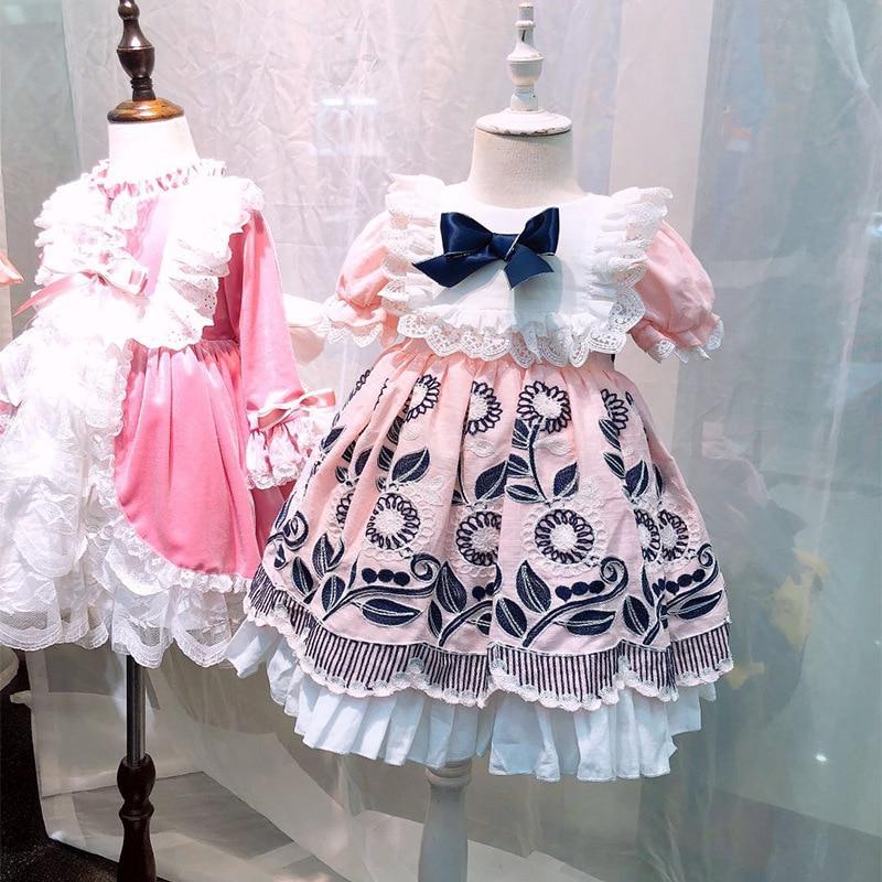 Mädchen Kleidung Freundlich 1-6y Sommer Palace Stil Vintage Spanisch Gestickte Bogen Rosa Spitze Puppe Kleid Für Nette Mädchen Baumwolle Prinzessin Party Kleid Auswahlmaterialien
