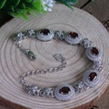 Beatiful red garnet pedra pulseira 5 pcs 4mm * 6mm natural garnet gemstone sólido 925 sterling silver garnet pulseira de presente romântico