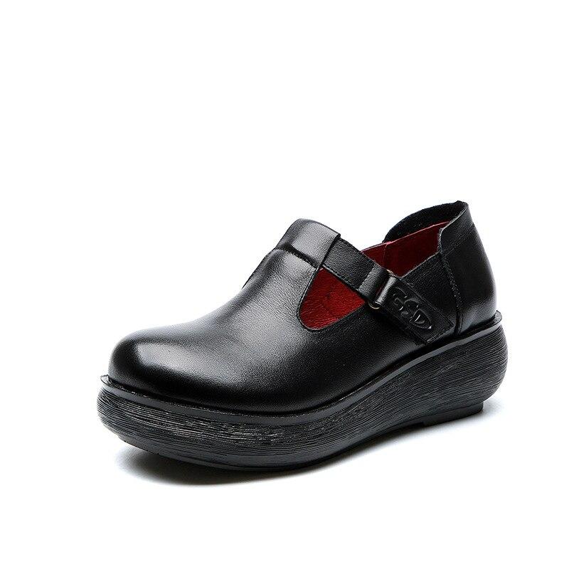 Women Leather Pumps T Strap Shoes 6 Cm High Heels Wedge Pumps Women Spring Shoes Retro 2019 Handmade Genuine Leather Women Pumps - 6