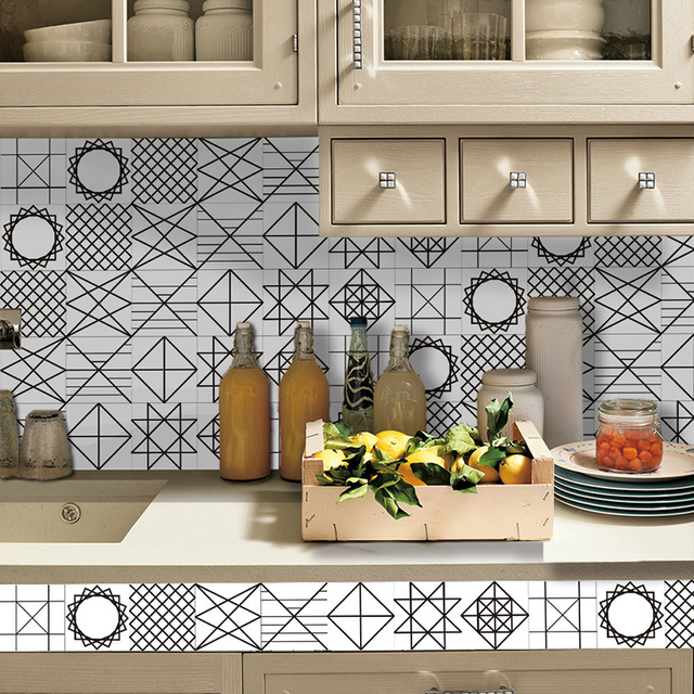 New 3d High End Wall Stickers Black And White Imitation Tile Sticker