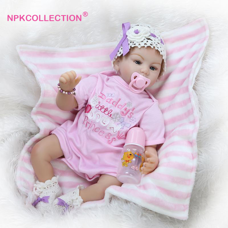 New Arrival Handmade 22 Lifelike Baby Dolls 55cm Soft Silicone Reborn Baby Girl Doll Toys Girls with Pink Reborn Baby Clothes 22inchs soft silicone reborn baby doll handmade clothes little girl doll reborn brinquedos early education reborn baby dolls