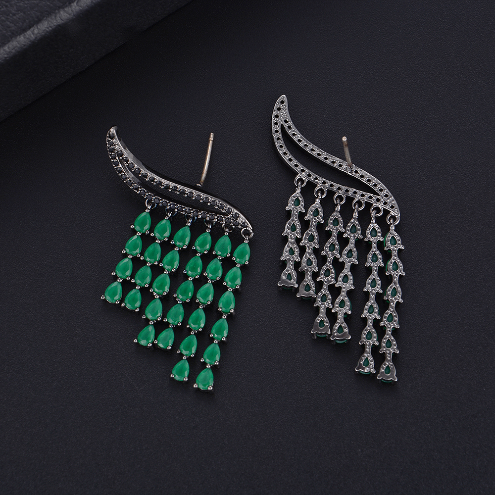 Siscathy Elegant Rain Curtain Drops Tassel Earrings Full Micro Cubic Zirconia Women Bridal Engagement Earring Jewelry Addiction in Stud Earrings from Jewelry Accessories