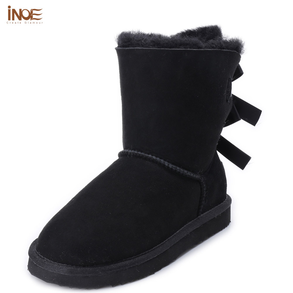 2017 fashion genuine sheepskin leather wool fur lined mid-calf suede women winter snow boots with bow-knot navy blue brown stylish women s mid calf boots with solid color and fringe design