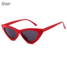 Qigge Krásné kočičí oko Retro Kočka Sluneční brýle Dámské 2018 Triangle Moderní Vintage Levné sluneční brýle Červená Žena UV400
