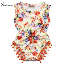 2017 Summer Princess Baby Girls Floral Romper Halter Lace Jumpsuit One Pieces Pom Pom Tassel Outfits Sunsuit Clothes 0-24M girls pom pom solid jumpsuit