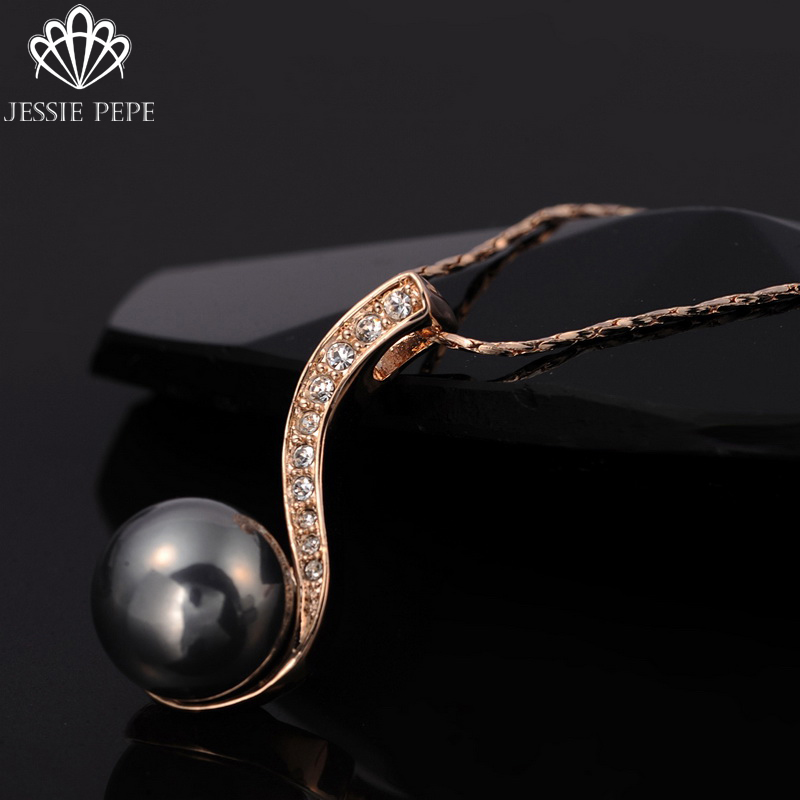 Jessie Pepe Italina Elegant Pendant Simulated Pearl Necklace Colar Made With Austrian Crystal Stellux Top Quality#JP75280