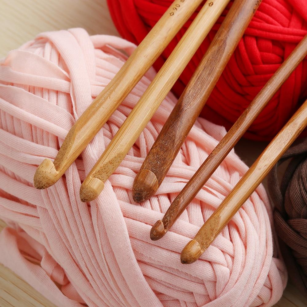 "1Set 12pcs 6"" Bamboo Handle Crochet Hook Knit Craft Knitting Needle Weave Yarn 3-10mm Sewing Accessories"