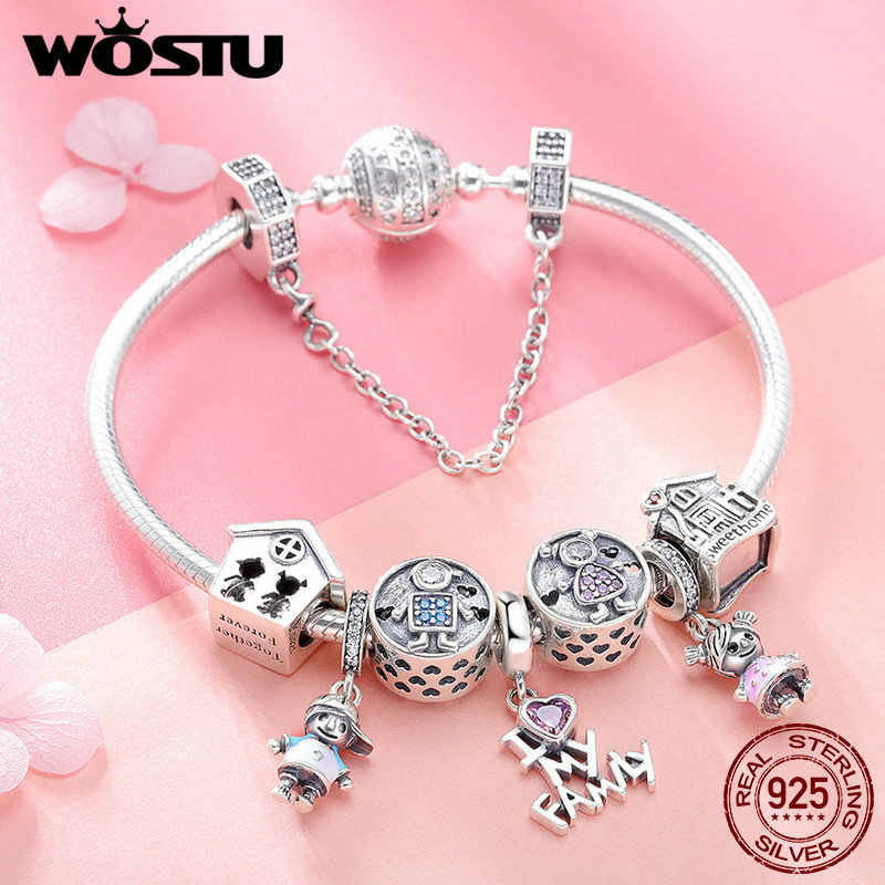 """WOSTU Authentic S925 Sterling Silver Charm  """" I Love My Family """" With Clear CZ"""