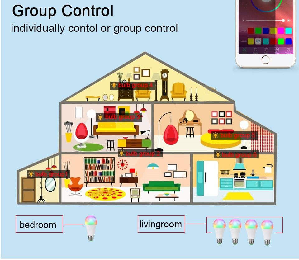 85-265V E27 LED Lamp RGB 15W Bluetooth APP Wifi Control Smart Bulb 10W RGBW RGBWW Light Bulb IR Remote Control Home Lighting (17)