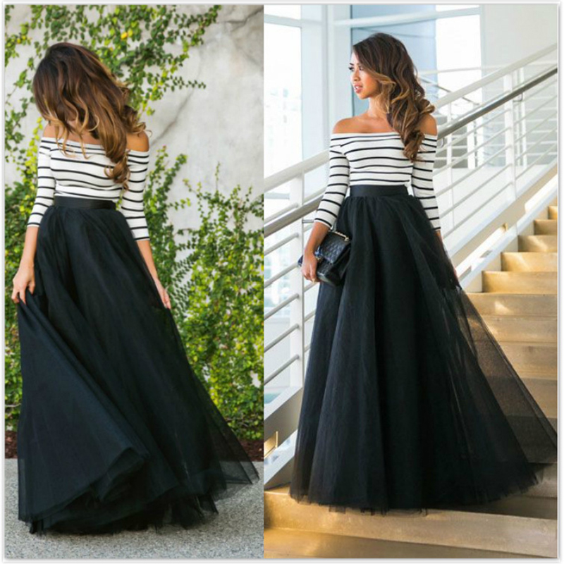 Summer Elegant Maxi Dress Women Sexy Half Sleeve Striped Long Beach Dress Female Slash Neck Tunic Dresses Bodycon Robe Femme