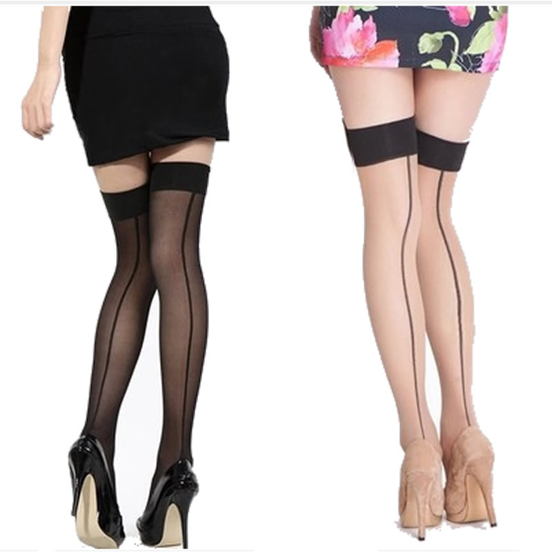 Halvat tukku nailonisukat Naisten seksikäs näkökulma raidalliset sukat Lady reisi korkea sukkahousut pitkä sukka