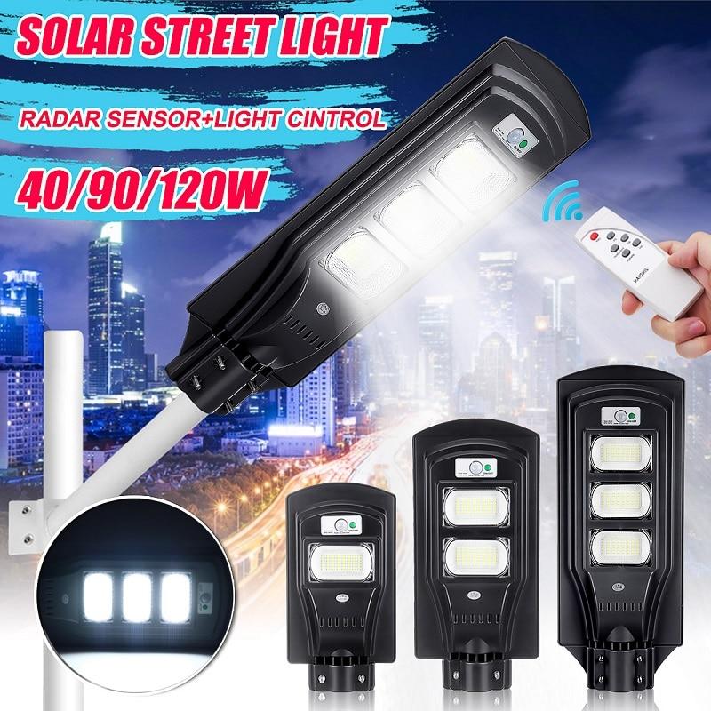 New 40W/90W/120W LED Solar Lamp Wall Street Light Dusk To Dawn Motion Sensor +Remote Waterproof Security Lamp For Garden Yard