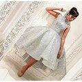 Sliver Sparkly Lantejoulas Hi-Lo vestido de Baile Vestidos de Baile De Alta Pescoço Na Altura Do Joelho-Comprimento Mangas Formais Vestidos de Festa