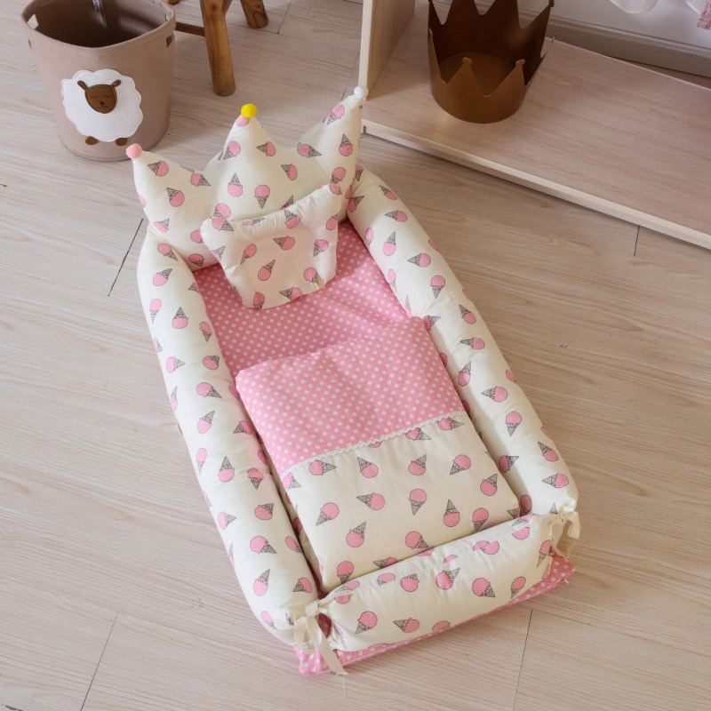 5 PCs Baby Crib With Pillow Newborn Mat Set Portable Folding Cradle Infant Bedding Sleep Travel