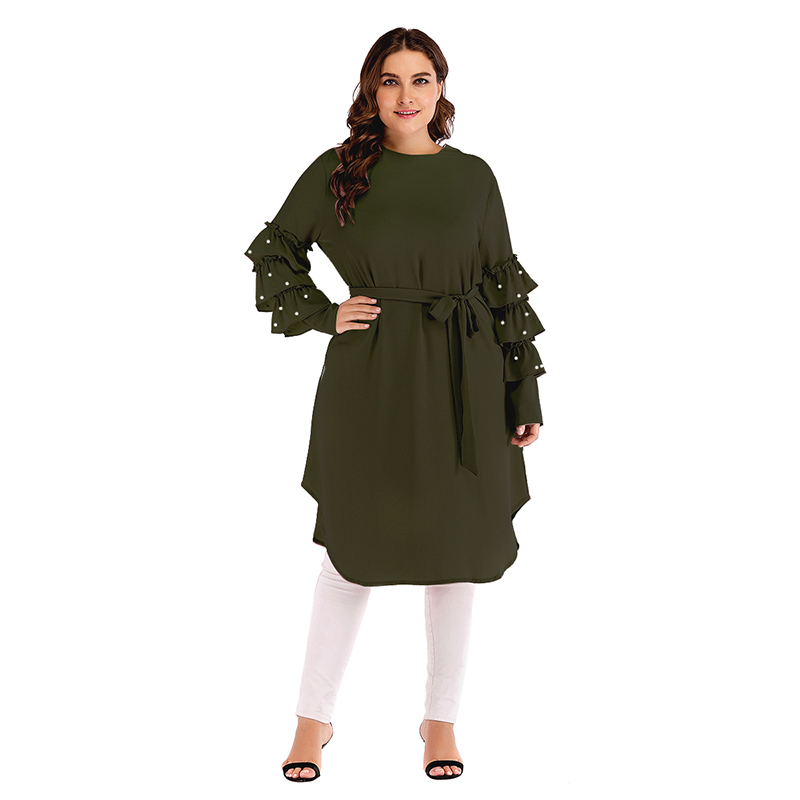 605a8c6766e 2019 Islamic Clothing Turkish Plus Size Pearls Tunic Tops Long ...