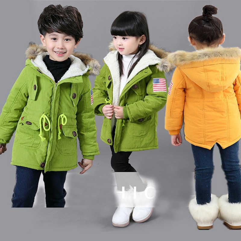 HH children winter jacket parka real fur snowsuit Kids parka jacket girls coat baby boy Children Clothing Hooded Outerwear