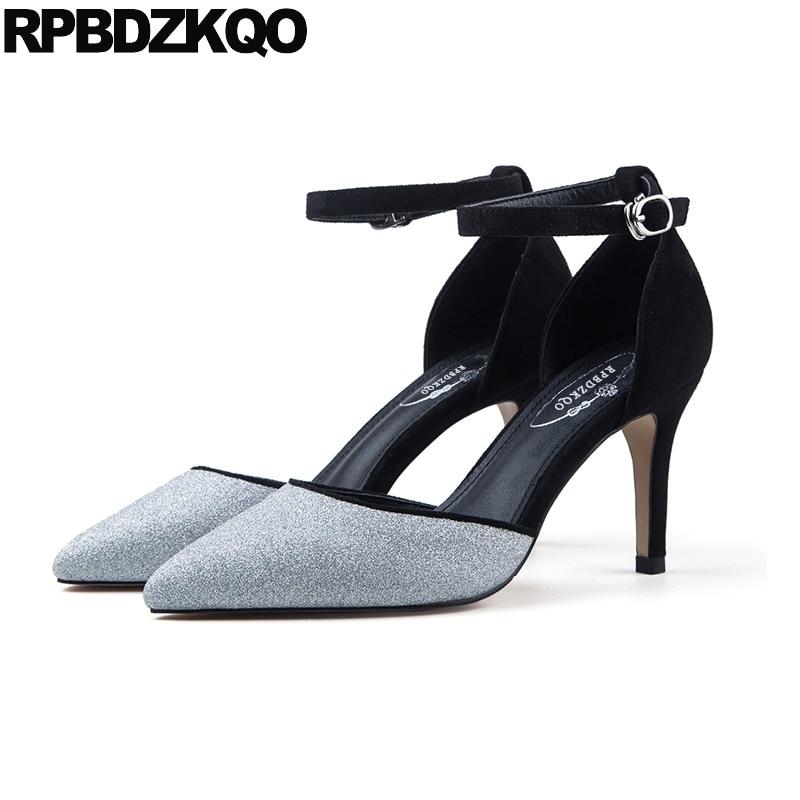 купить 11 43 Plus Size 3 Inch 33 Medium Heels Sandals Shoes Scarpin Ankle Strap Pointed Toe 4 34 High Silver Glitter Pumps 12 44 Ladies по цене 3572.99 рублей