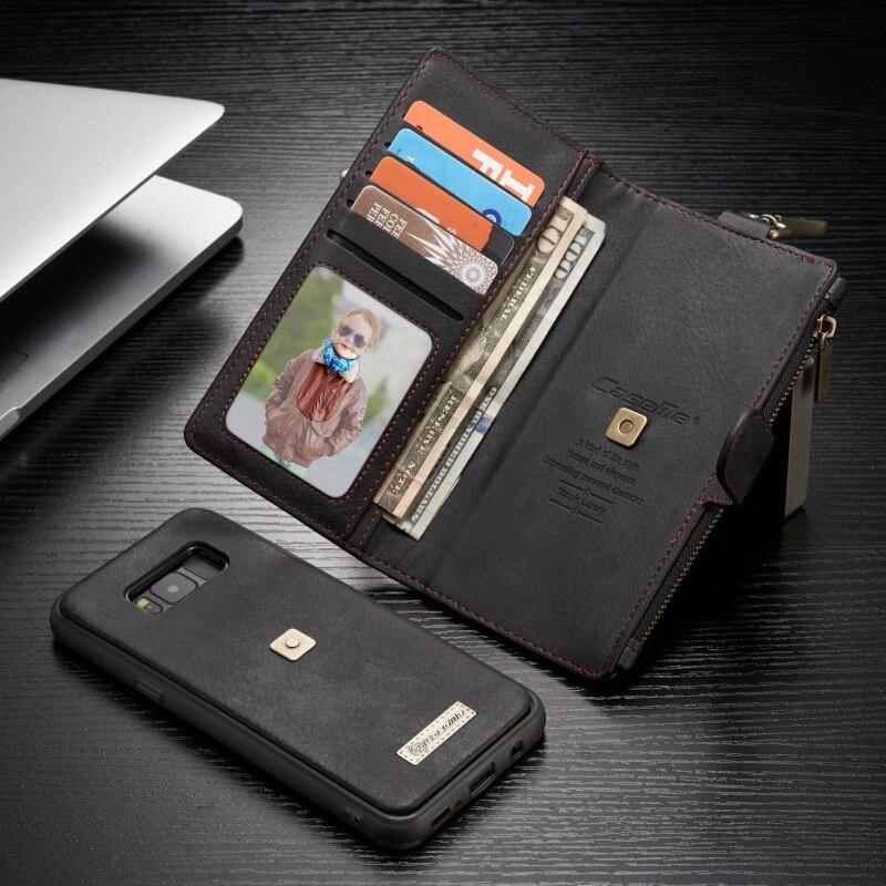 imágenes para CASEME para Samsung Galaxy S8 Más G955 Cartera Clip de Metal Retro Cuero partido Shell + Caja Interior Desmontable para Galaxy S 8 + bolsa