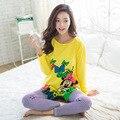2017 Otoño Pijamas de Las Mujeres Pijamas de Mujer Arco de Dibujos Animados Patrón de Flores Pijamas Femme Homewear ropa de Dormir de Mujer de Manga Larga M ~ XL