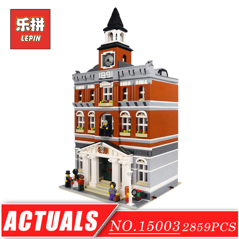 LEPIN 15003 Street View Series Creative Toy the Town Hall Set DIY Model Building Kits Blocks Bricks Children Toys Christmas Gift lepin 15003 2859pcs city creator town hall sets model building kits set blocks toys for children compatible with 10024