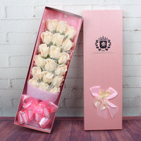 Flores artificiais 18 Peças Sabão Flor Rosa com Caixa de Presente Criativo para o Presente Do Dia Dos Namorados Decoração Do Casamento Flores de Sabão