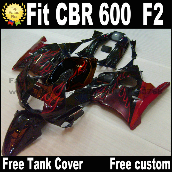 Plastic fairing kit for HONDA 91 92 93 94 CBR 600 F2 red flames in black  CBR600 1991 1992 1993 1994 fairings CV28 недорогое