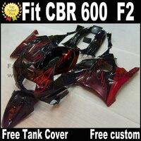 Plastic fairing kit for HONDA 91 92 93 94 CBR 600 F2 red flames in black CBR600 1991 1992 1993 1994 fairings CV28