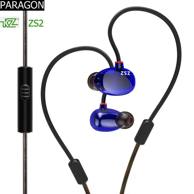 original dual driver earphones KZ earphone ZS2 sports for phone HIFI mp3 player music Earbuds headset with MIC headphones mi