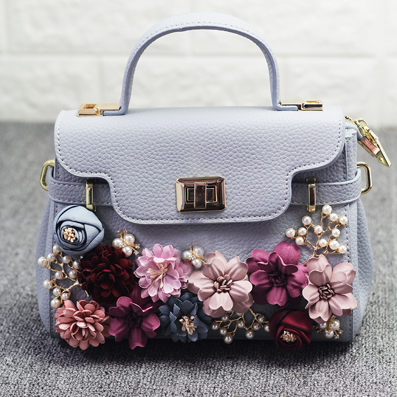 Thailand tide brand platinum all-match female bag stereo flower pearl diamond shoulder bags platinum small bag
