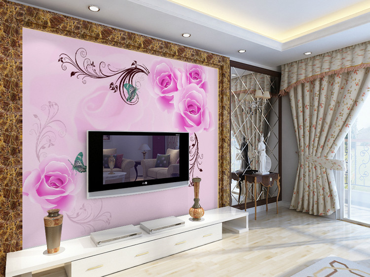 Eco friendly 3D huge mural dream purple rose background for sofa,tv ...