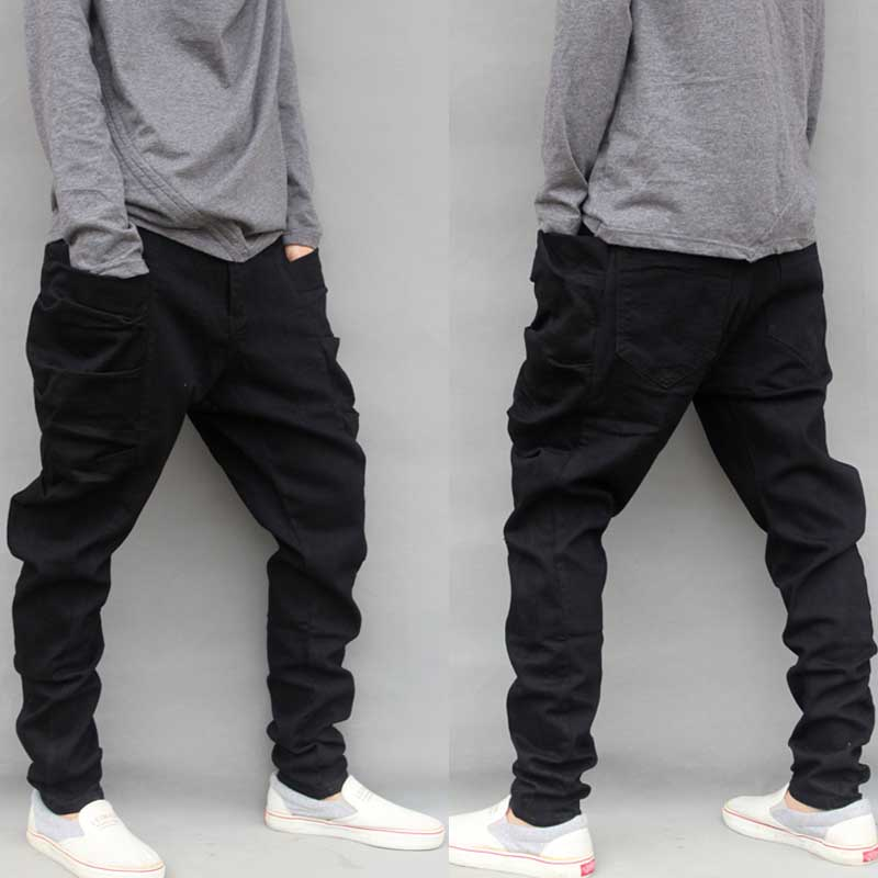 Décontracté grande taille noir Cargo Pantalon pour hommes coton ample Baggy Harem Pantalon grandes poches latérales Hip Hop Pantalon Homme M-6XL