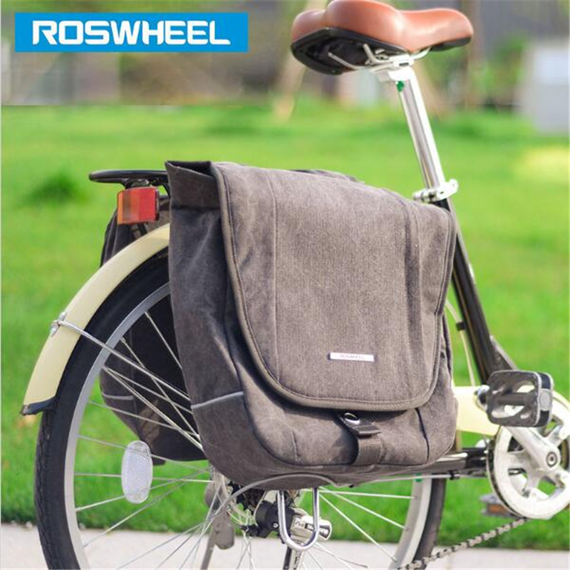 ROSWHEEL 20L Bicycle Bag MTB Road Rear Rack Bike Canvas Cycling Bag Seat Saddle Bag Double Side Tail Seat Trunk Bag Pannier rockbros mtb road bike bag high capacity waterproof bicycle bag cycling rear seat saddle bag bike accessories bolsa bicicleta