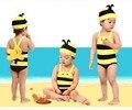 Nuevo 2017 verano de los niños kids baby girl traje de baño una piezas traje de baño natación traje de baño para bebé bebe niñas con el sombrero al por menor